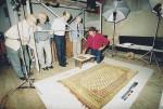 August 2002 - From left: A. Eitel and H. Schneider (Medias Parish) with Pastor Christian Plajer and E. Hellmann (Brasov Parish) checking a Chintamani on Schmutzler's catalogue.