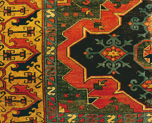 Unique Usahk carpet of rare Turkoman design, Black Church coll. (detail)